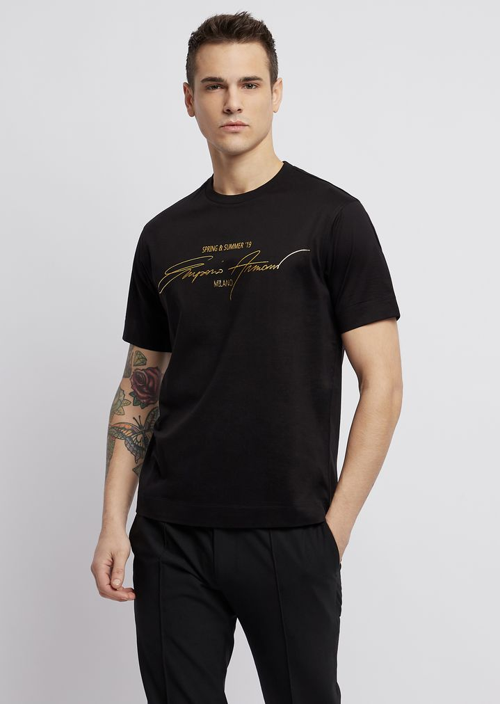 119648fe6f Mercerized cotton jersey T-shirt with the collection's print