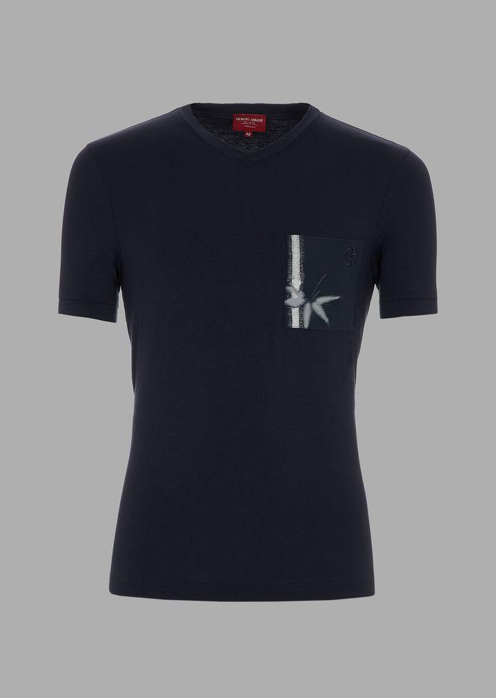 3857ac8b48a7ba Stretch viscose T-shirt with bamboo print   Man   Giorgio Armani