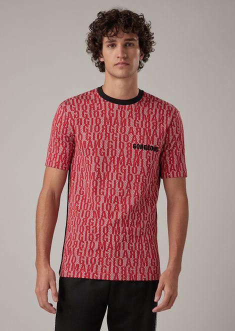 Camiseta de punto elástico de viscosa con estampado de letras