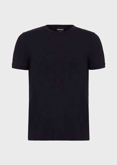 Stretch viscose jersey T-shirt with GA embroidery