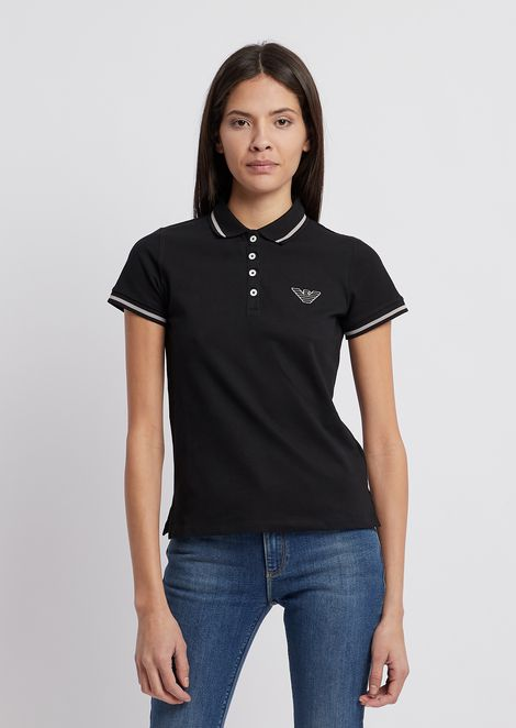 Cotton piqué polo shirt with contrasting details
