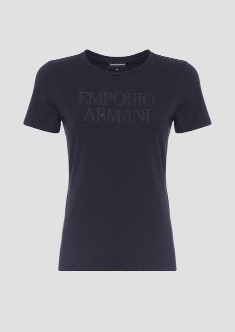 T-shirt in jersey di cotone stretch con logo Emporio Armani