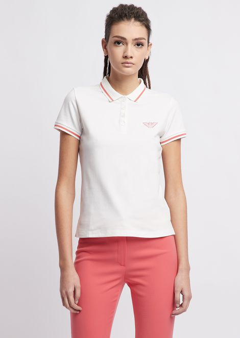 b2e1005ea999 Cotton pique polo shirt with contrasting details
