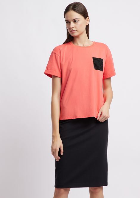 Jersey T-shirt with tone-on-tone sequined pocket