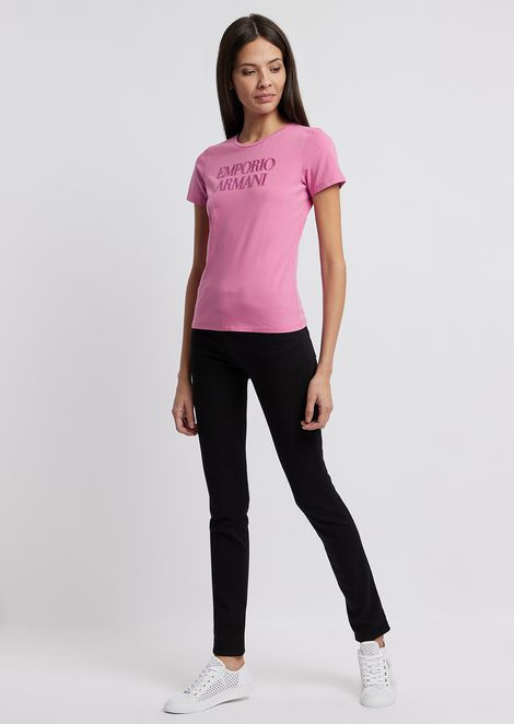 Stretch cotton jersey T-shirt with Emporio Armani logo