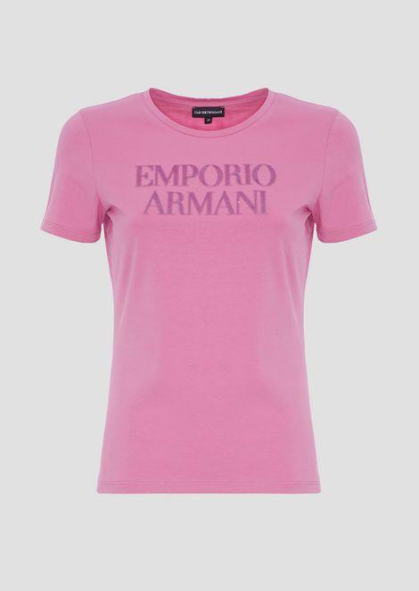 Stretch cotton jersey T-shirt with Emporio Armani logo