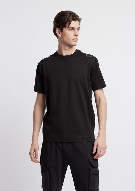 Mercerised cotton jersey regular fit T-shirt with logo taping on the back