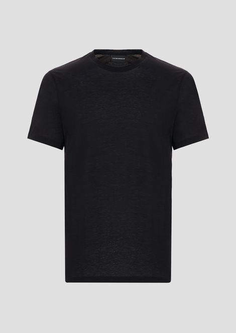 Slim-fit T-shirt in lightweight cotton and lyocell jersey with embroidered logo