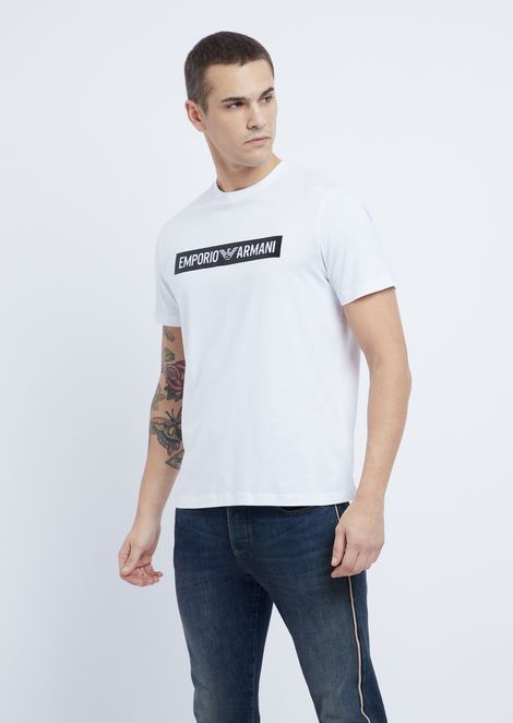e033897c68070 T-shirt in jersey with printed logo in contrast