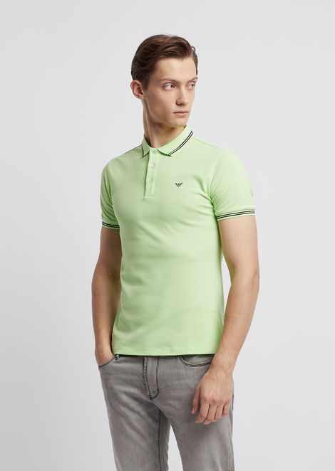 Cotton pique polo shirt with contrasting logo on chest