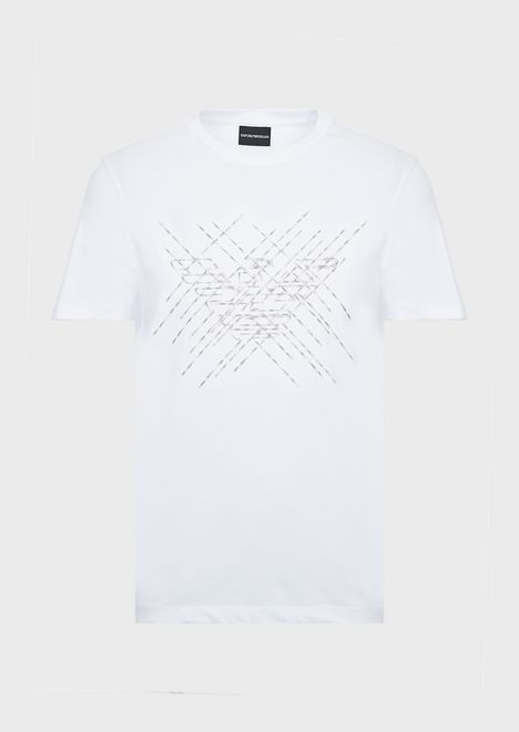Camiseta de punto interlock de algodón con bordado con logotipo
