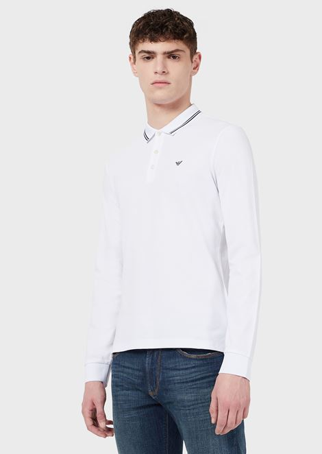 Stretch cotton piqué polo shirt with long sleeves