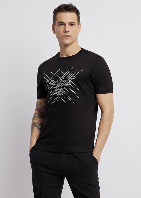 Camiseta de punto con logotipo bordado en contraste