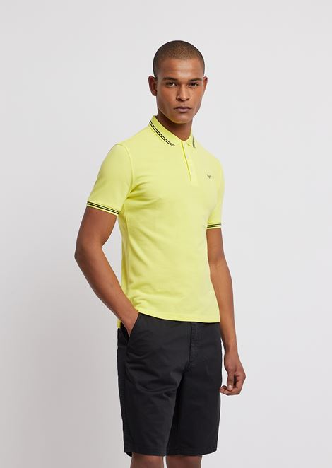 Cotton piqué polo shirt with contrasting logo on chest