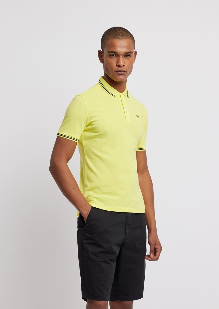 9998f82074 Cotton piqué polo shirt with contrasting logo on chest