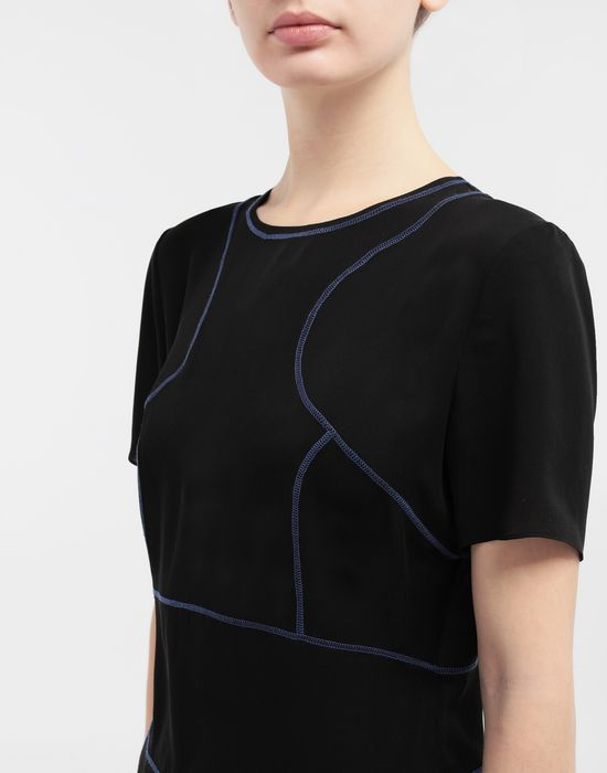 MAISON MARGIELA Stitch-jacquard silk georgette top Top [*** pickupInStoreShipping_info ***] a