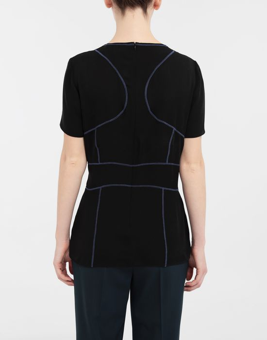 MAISON MARGIELA Stitch-jacquard silk georgette top Top [*** pickupInStoreShipping_info ***] e