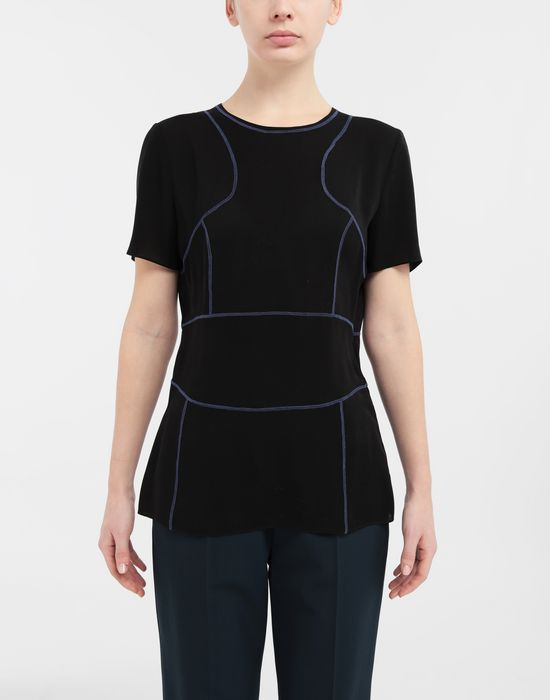 MAISON MARGIELA Stitch-jacquard silk georgette top Top [*** pickupInStoreShipping_info ***] r