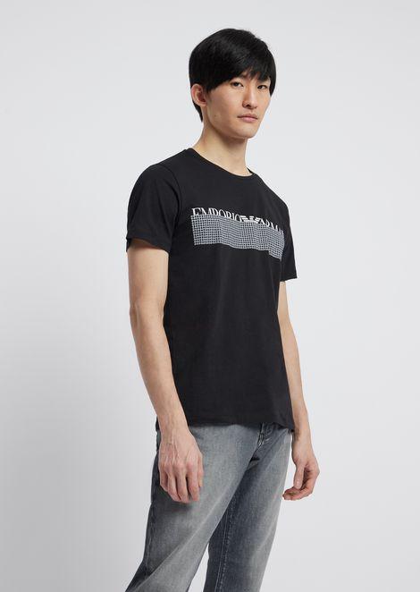Camiseta de punto con estampado al agua en el pecho