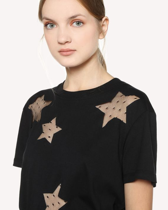 REDValentino T-Shirt mit Sternendetails aus Point d'Esprit