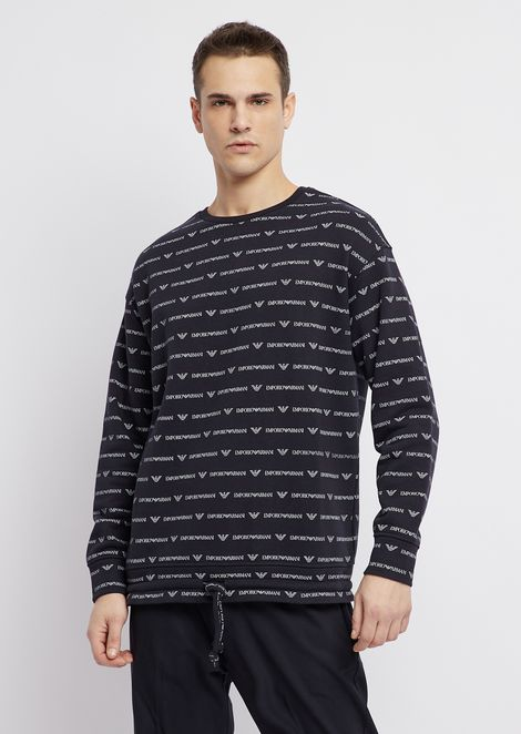 Cotton fleece sweatshirt with all-over logo and drawstring at the hem