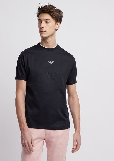 Loose-fitting mercerized cotton T-shirt with logo and embroidery