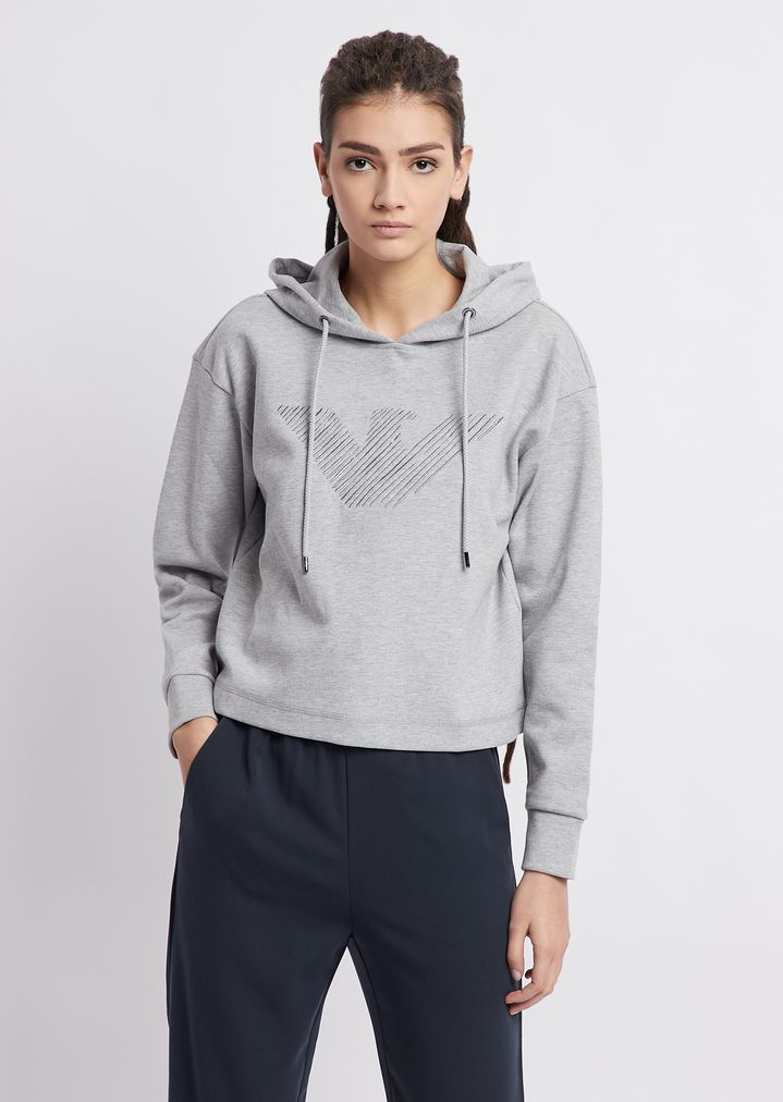 45c03b80e2 Cropped sweatshirt with hood and embroidered eagle