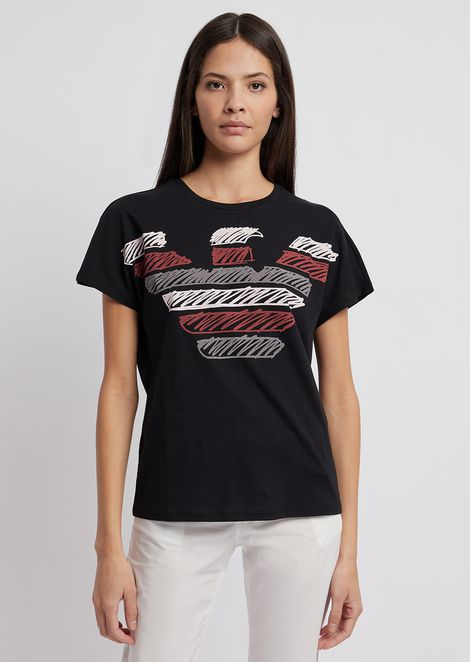 T-shirt in light cotton jersey with multi-colored Emporio Armani eagle