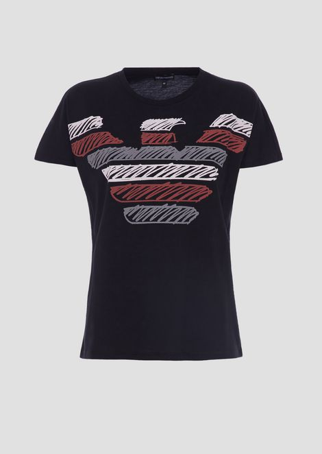 T-shirt in light jersey cotton with multi-coloured Emporio Armani eagle