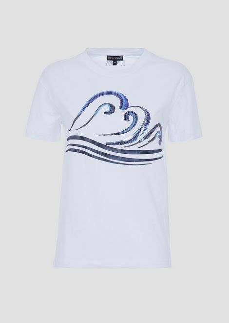 Lightweight cotton jersey T-shirt with blue waves print