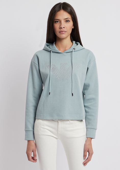 Cropped sweatshirt with hood and embroidered eagle