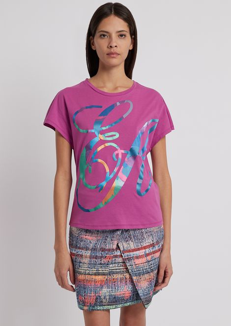 T-shirt in light cotton jersey with multi-colored, logoed print