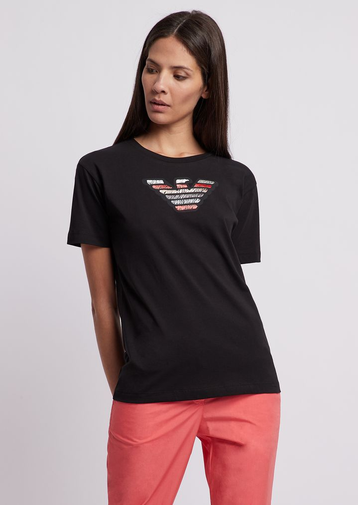 89ee431eb8 Lightweight cotton jersey T-shirt with embroidered Emporio Armani eagle |  Woman | Emporio Armani