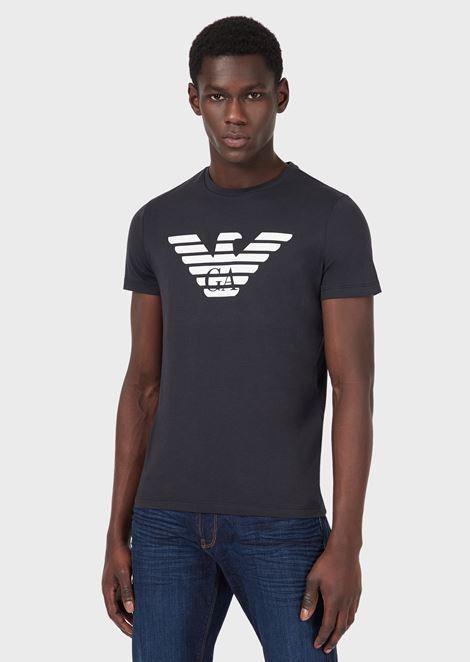 Camiseta de punto de algodón pima con logotipo estampado