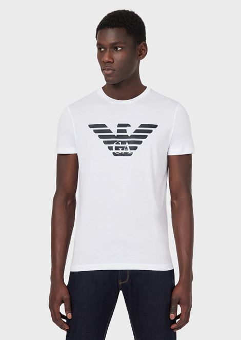 Pima cotton jersey T-shirt with printed logo