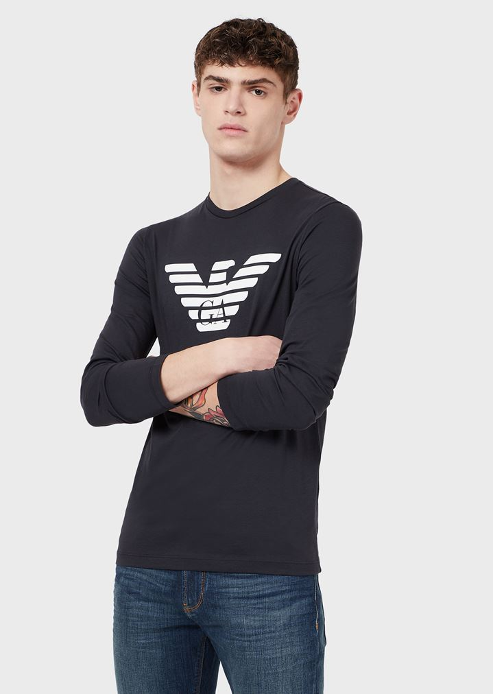 Pima cotton jersey T-shirt with long sleeves and printed logo