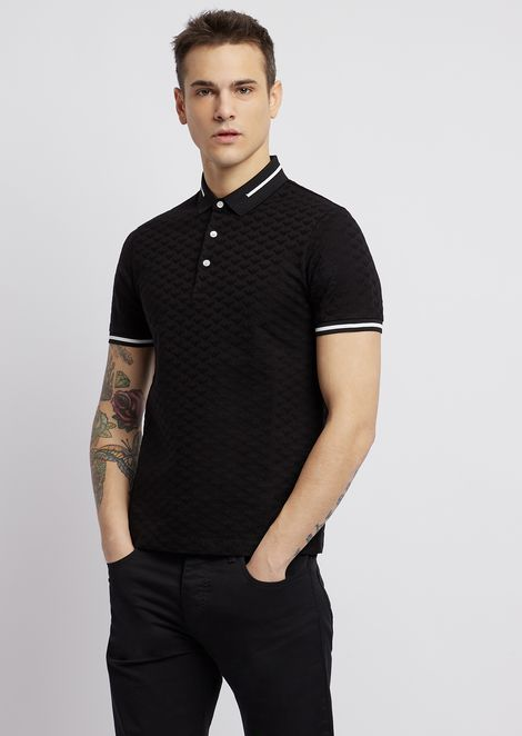 Polo shirt in pure cotton with all-over jacquard logo