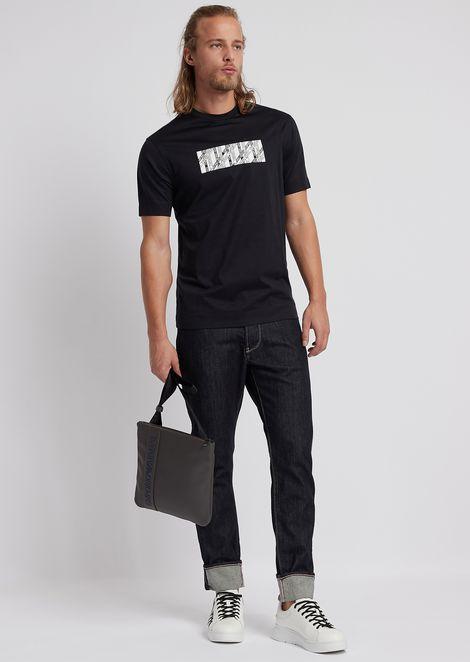 Camiseta de algodón estructurado con estampado rectangular con logotipo