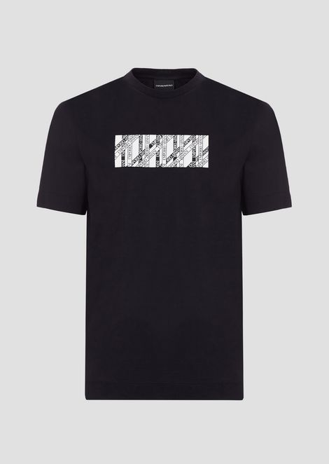 Mercerized cotton T-shirt with rectangular logo print