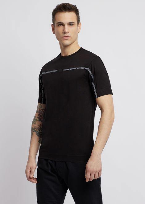 Camiseta de algodón mercerizado ribeteada con banda con logotipo