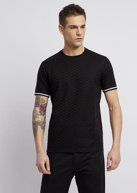 Pure cotton T-shirt with jacquard logo