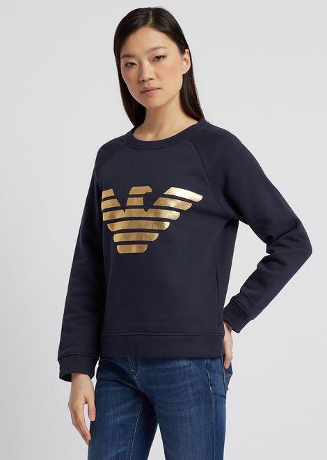スウェットシャツ ピュアコットン製 メタリックロゴプリント