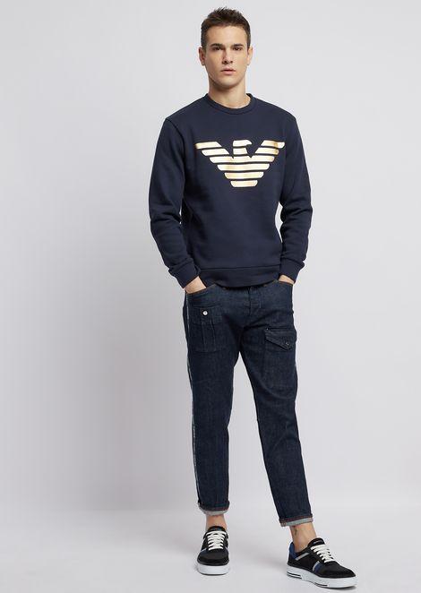 Pure cotton sweatshirt with metallic logo print