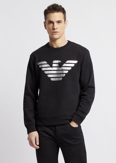 Pure cotton sweatshirt with metallic logo print