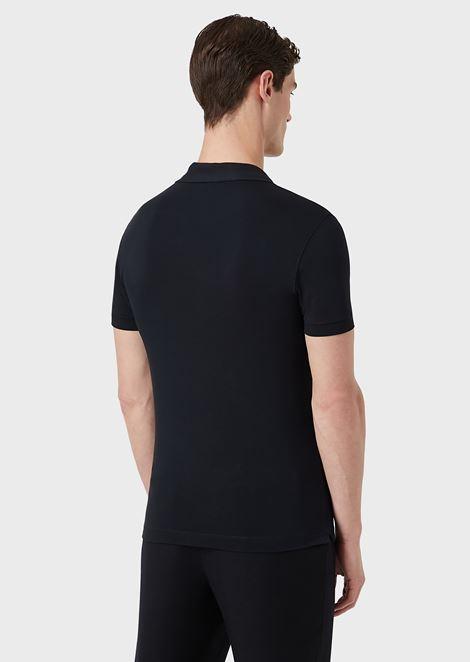 Stretch viscose jersey polo shirt