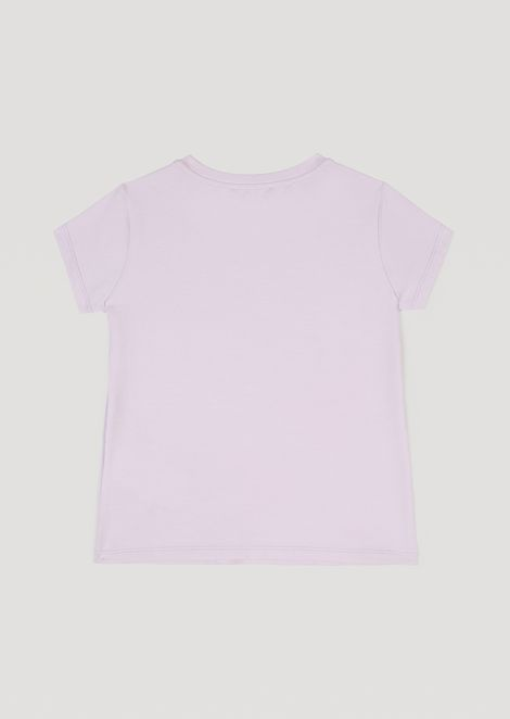 Stretch cotton jersey T-shirt with maxi bow