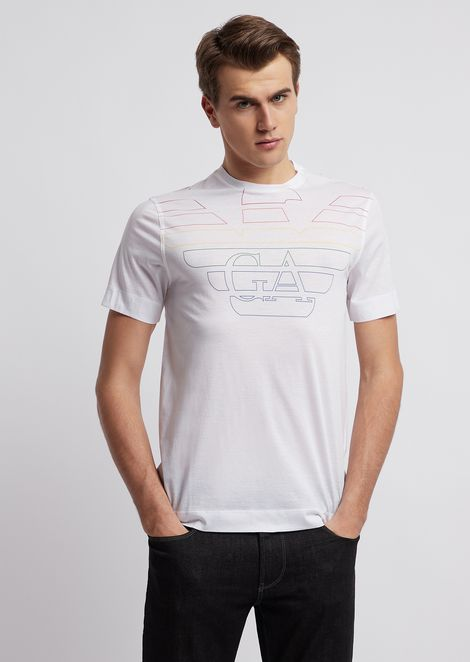 6755e0a856741 Cotton and lyocell T-shirt with embroidered logo