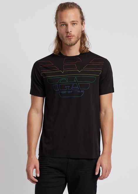 Cotton and lyocell T-shirt with printed logo