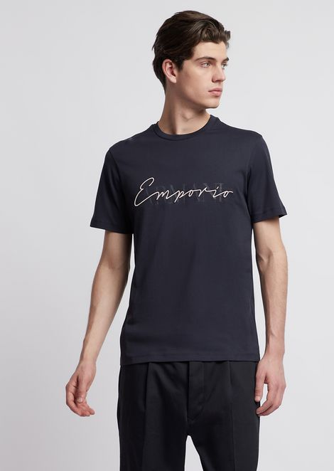 Jersey T-shirt in mercerized cotton with print and logo embroidery