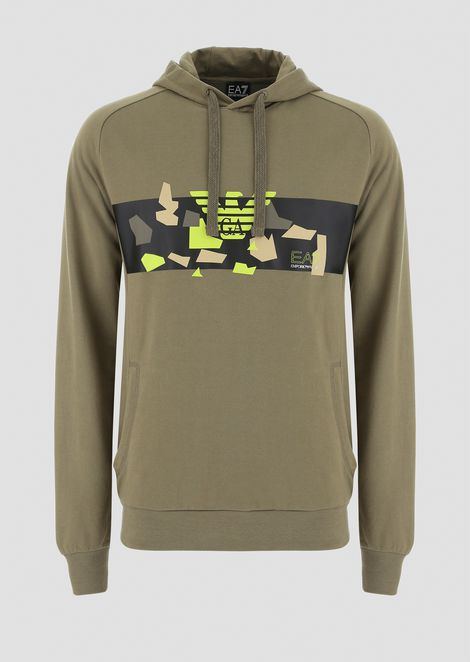 Hooded sweatshirt with camo print and logo